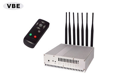 7 Bands 16W GPS Signal Jammer Remote Control VHF / UHF / GSM Silver Color